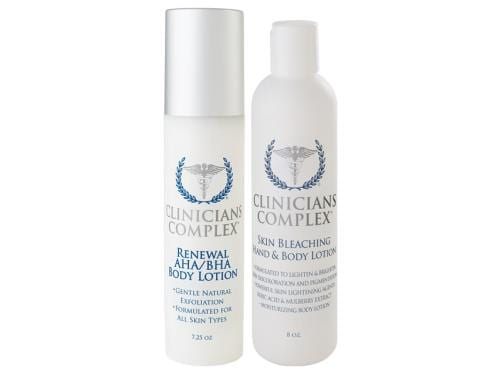 Clinicians Complex Holiday Duo - Skin Bleaching Hand and Body Lotion & Renewal AHA/BHA Body Lotion