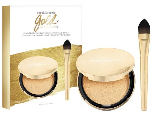 bareminerals Gold Obsession Chandelight Gold Illuminator Plus Brush Duo