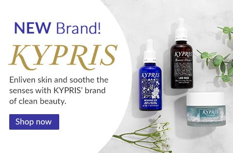 New KYPRIS products on a bathroom counter. Enliven skin with clean beauty products from KYPRIS, now available at LovelySkin.