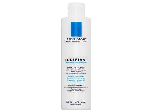 La Roche-Posay Toleriane Dermo Milky Cleanser, a white bottle with blue labeling
