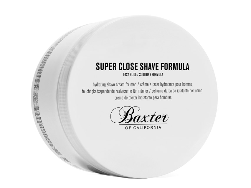 Baxter of California Super Close Shave Formula. Men's shaving cream. Men's shaving products. Men's grooming products.